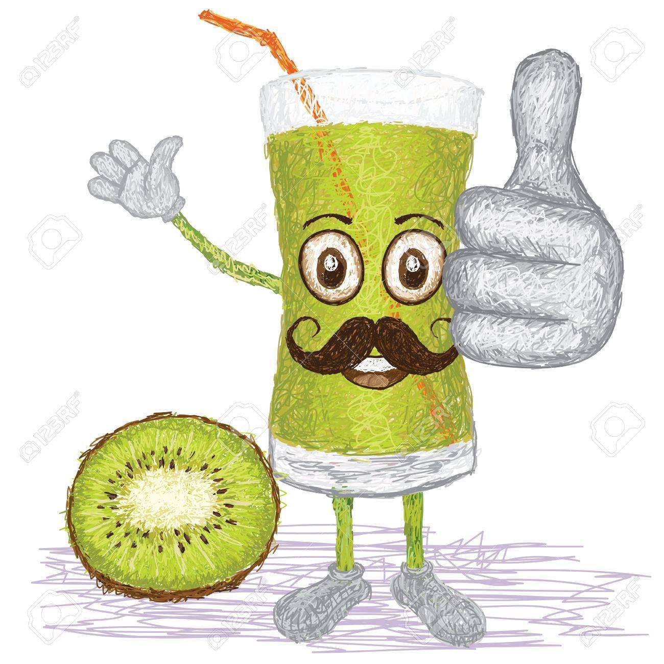 Green Juice Cartoon Happy Cartoon Green Kiwi