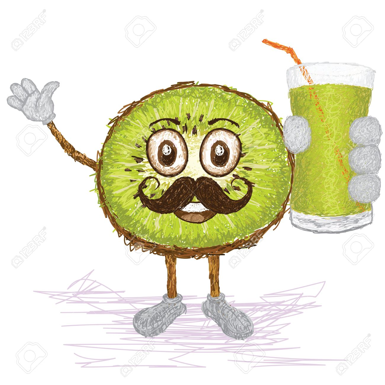 Unique style illustration of funny happy cartoon green kiwi