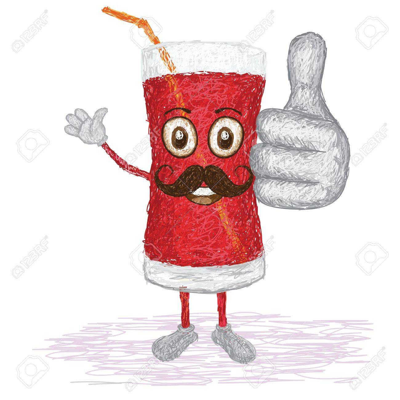 Unique style illustration of funny happy cartoon glass of