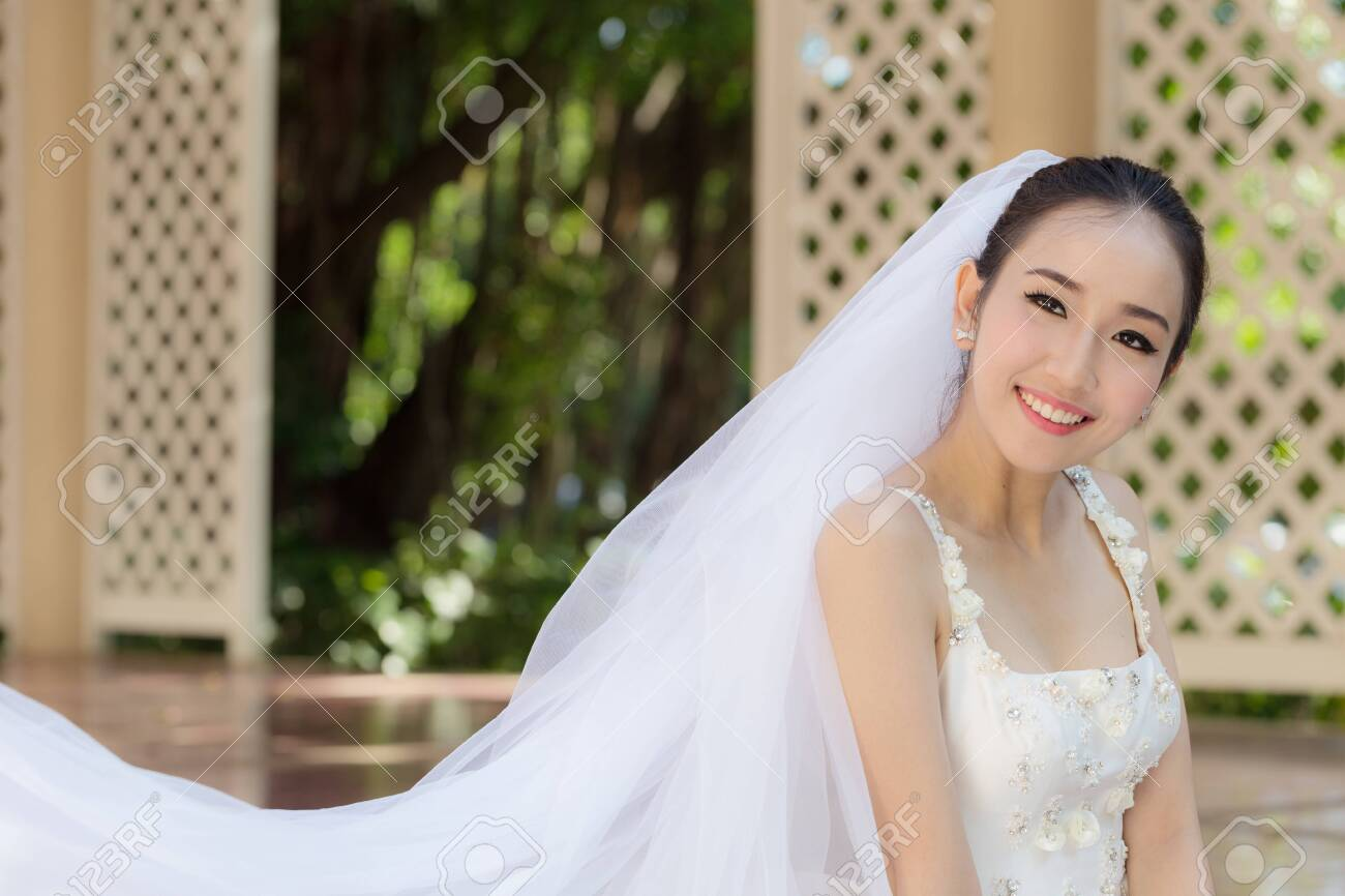 Beautiful Attractive Asian Bride Woman Wearing White Wedding Stock Photo Picture And Royalty Free Image Image 138634105