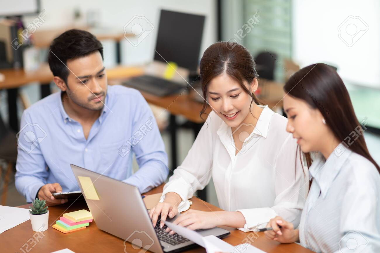 Group of young Startup coworkers working together to get ideas and marketing at office,Business Startup Diversity Brainstorming Concept - 149893763