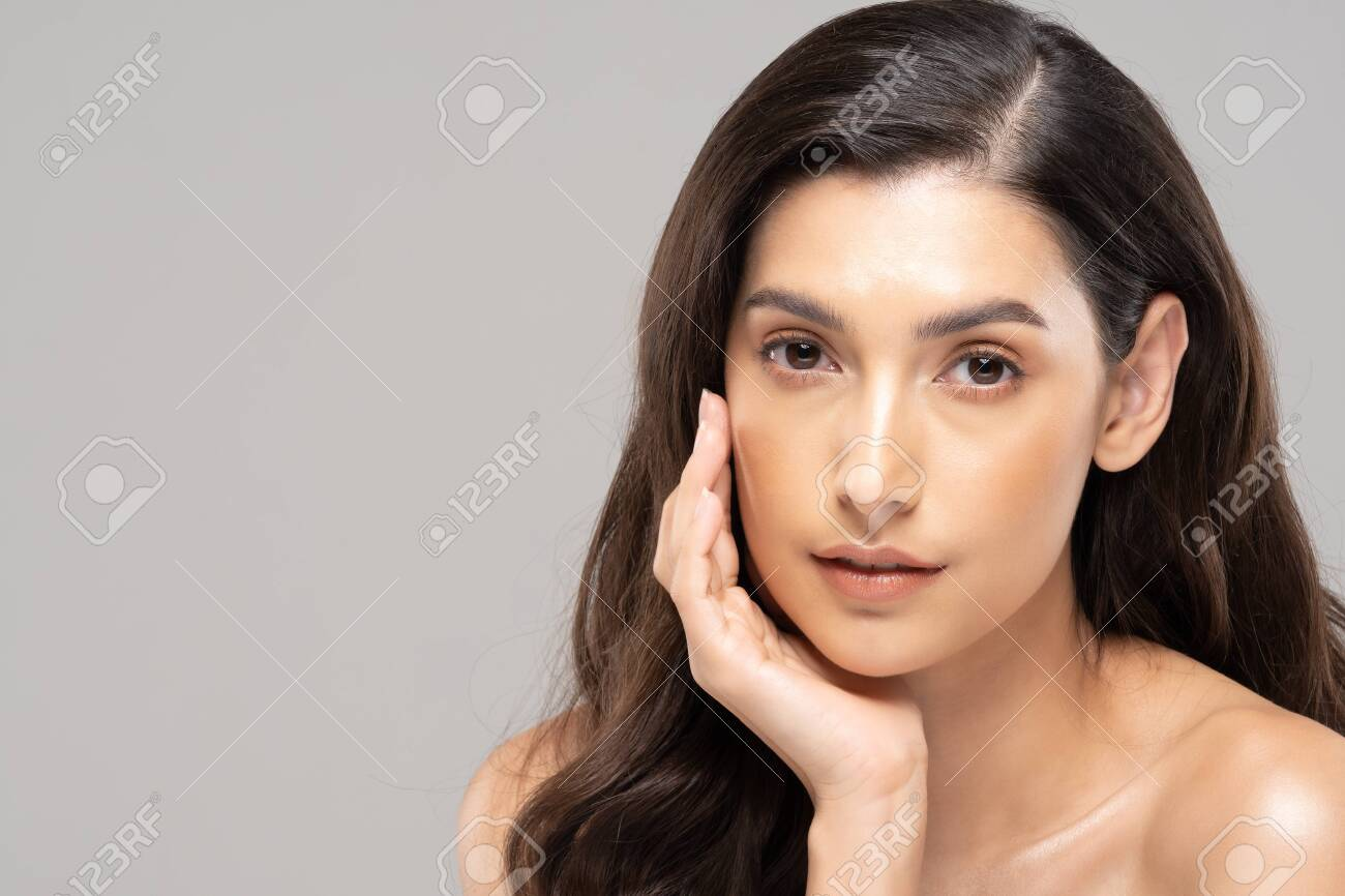 Beautiful Glamour woman touching cheek smile with clean and fresh skin Happiness and cheerful with positive emotional,isolated on grey background,Beauty Cosmetics and spa Facial treatment Concept - 154942465