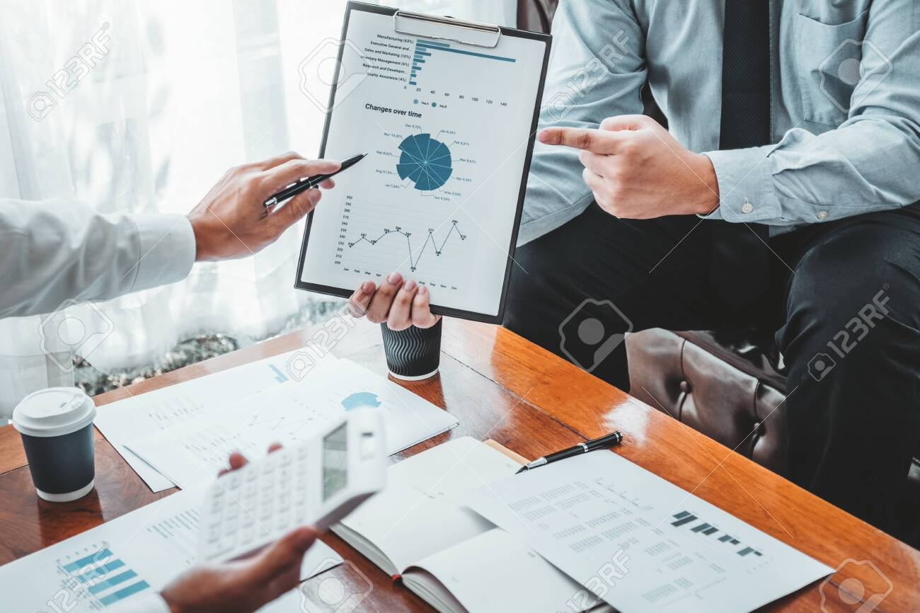 Business team meeting Strategy Planning with new startup project plan Finance and Economy Graph with laptop successful teamwork - 132741164