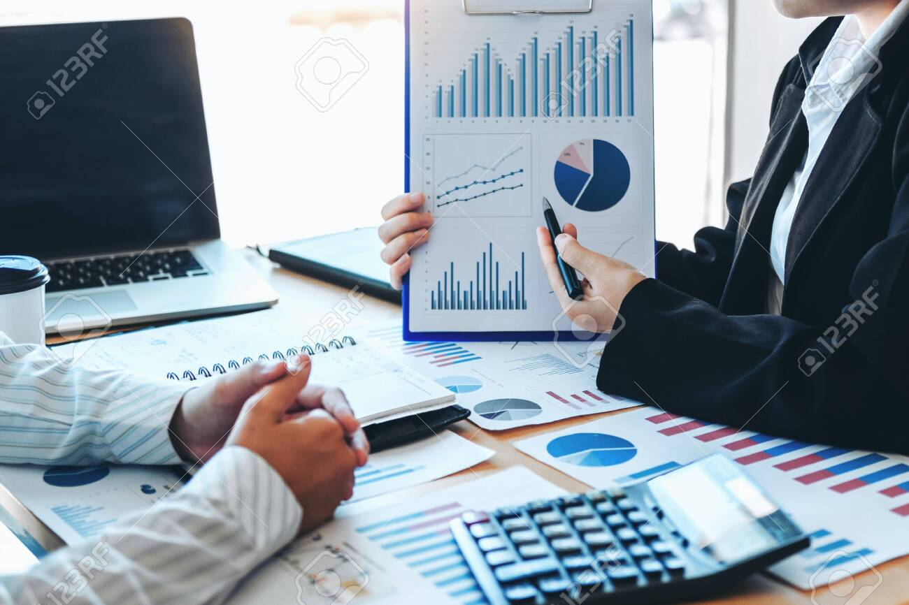 Business team meeting Strategy Planning with new startup project plan Finance and Economy Graph with laptop successful teamwork - 132741130