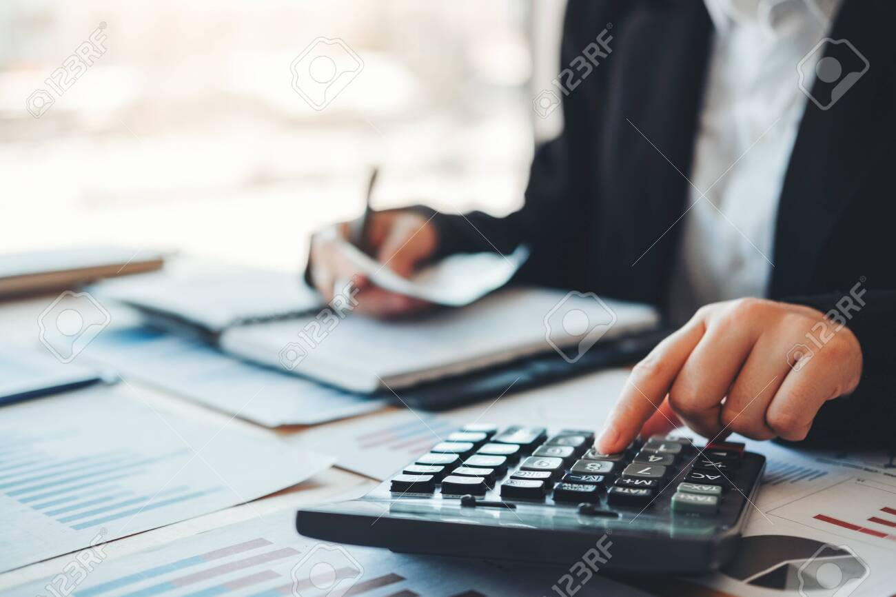Co-working Business Accounting investment and saving cost discussing new plan financial graph data - 132741007