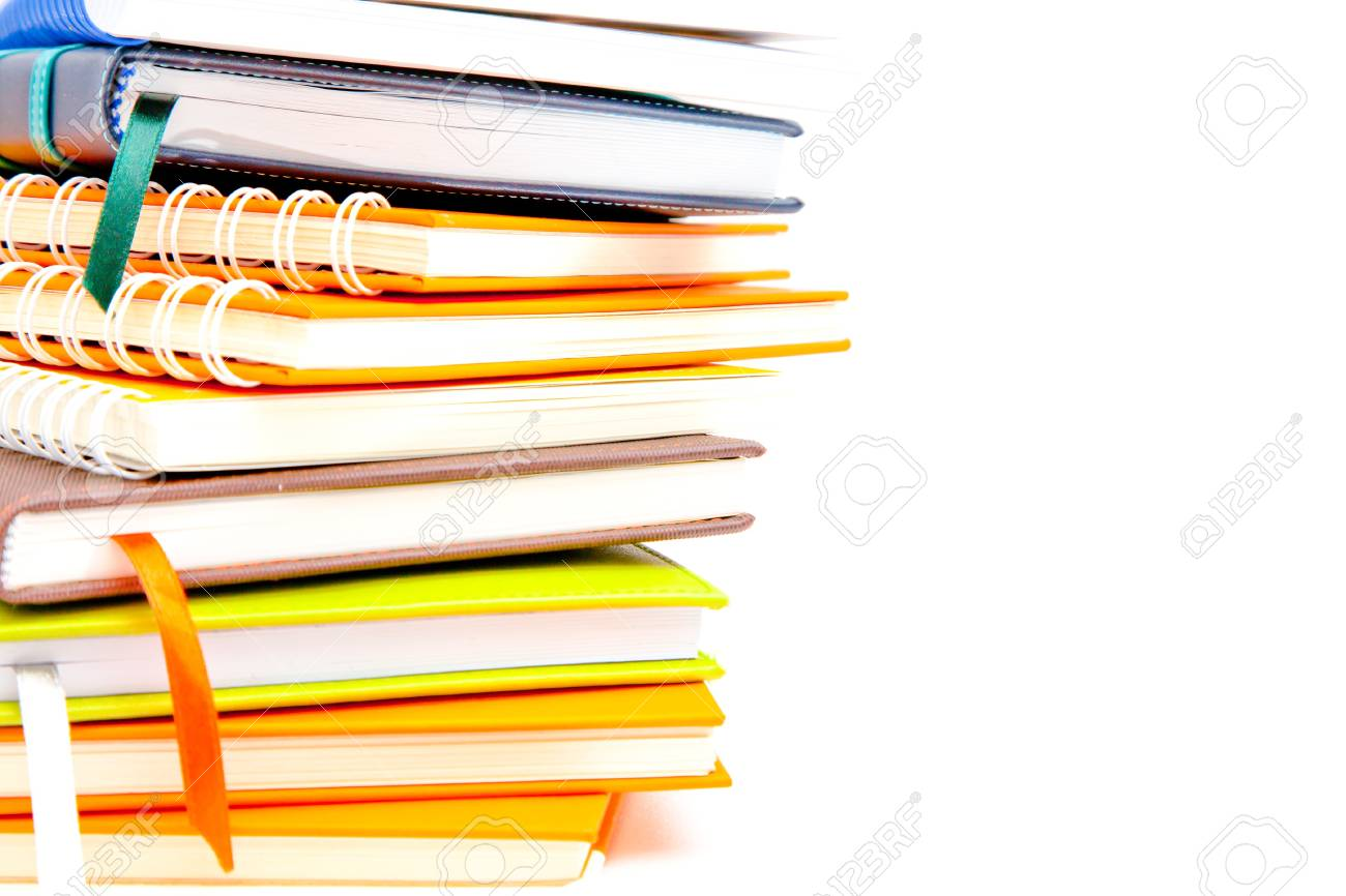 notebook stack on white isolated Stock Photo - 13704355