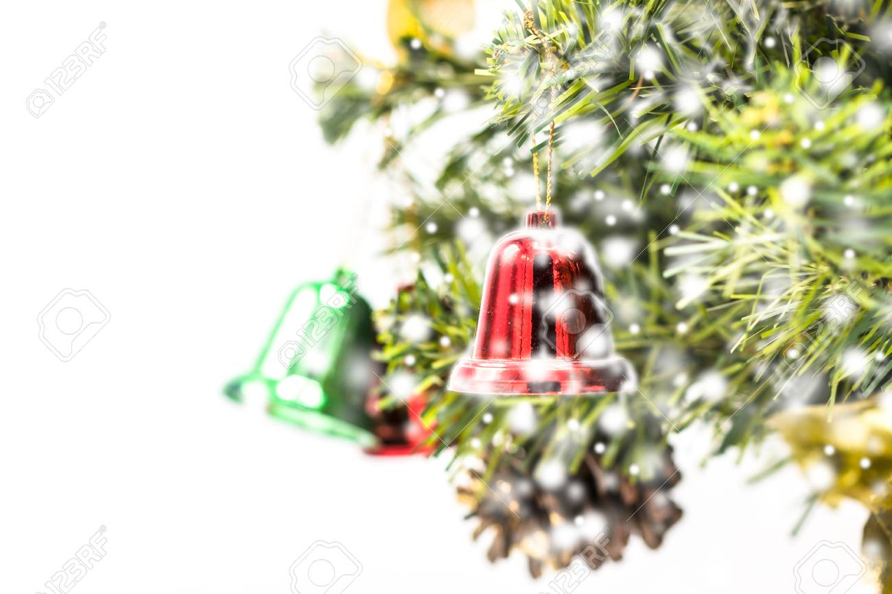 Red And Green And Gold Christmas Bell Decoration Hanging From