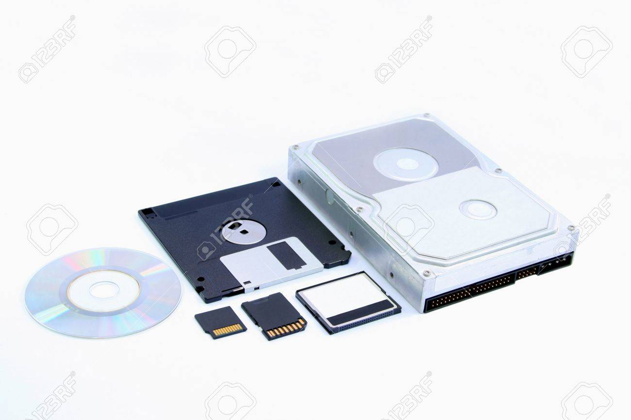 Six Different Types Of Memory Storage Devices Stock Photo, Picture ...