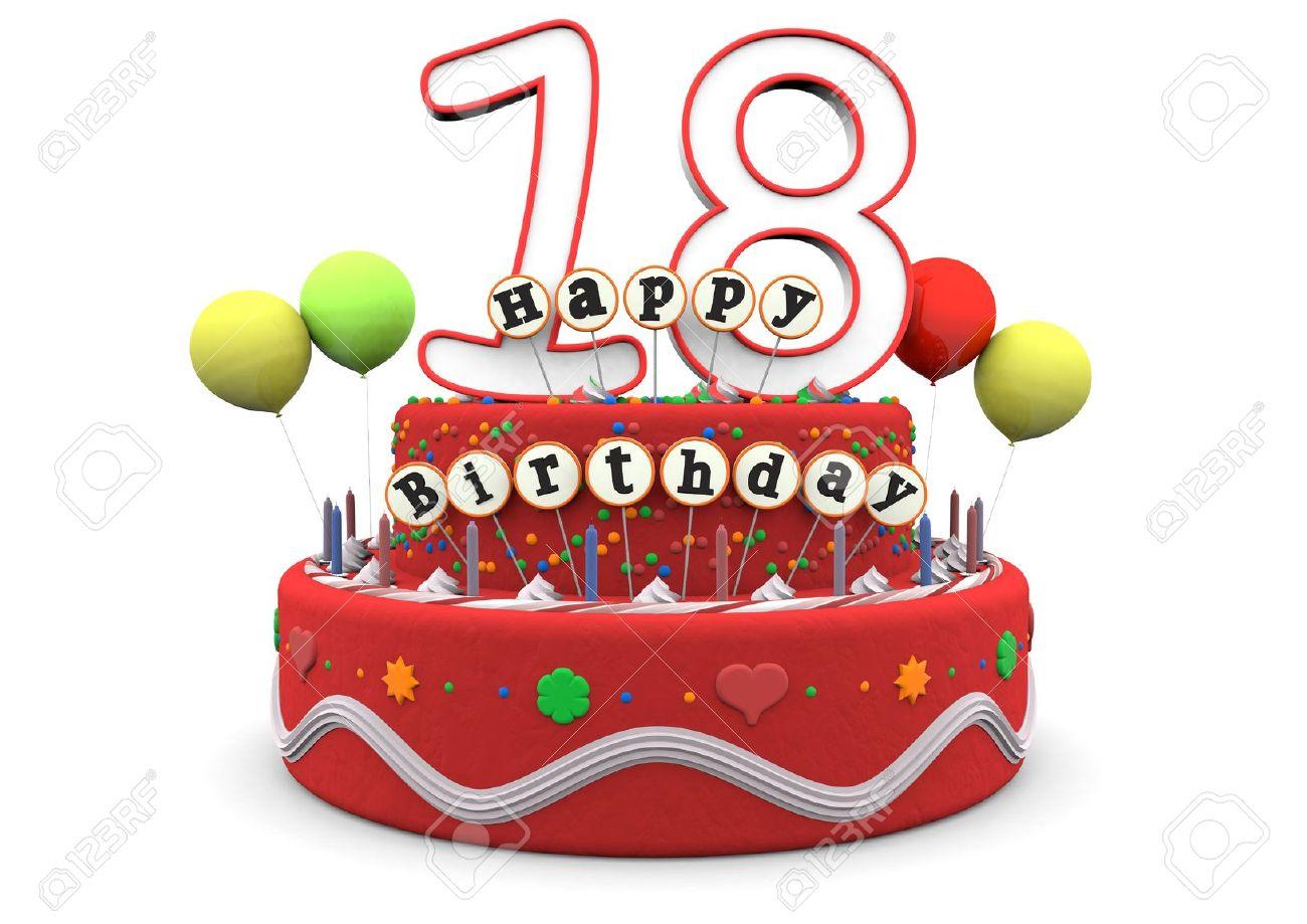 91965b960 Foto de archivo - Un pastel de crema de cumpleaños con globos