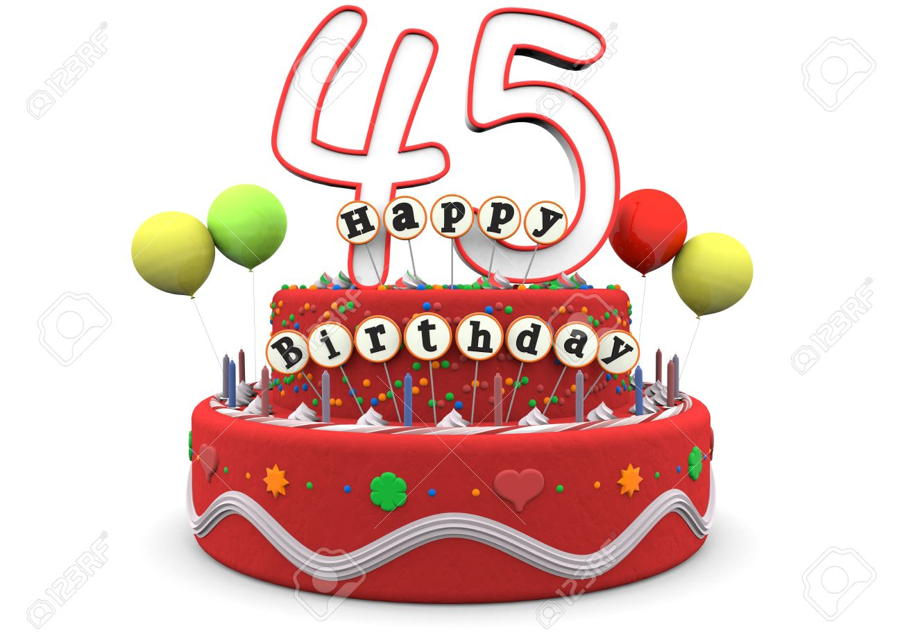 A Birthday Cream Pie With Balloons Big Age Numbers 45 And The Lettering Happy