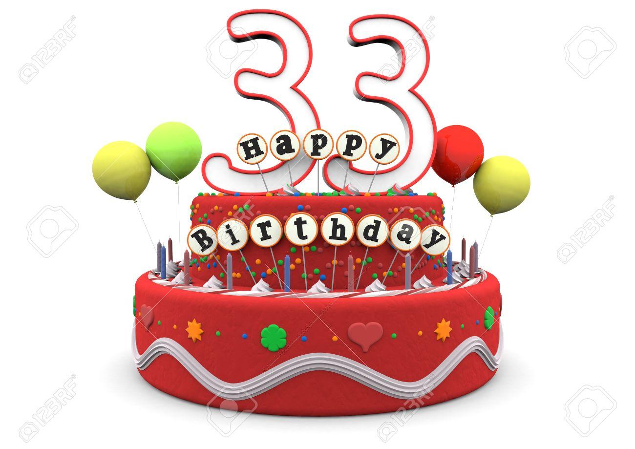 Une Tarte à La Crème Danniversaire Avec Des Ballons Grand Numéro De 33 Ans Et Le Lettrage Joyeux Anniversaire Sur Les Petits Bâtons