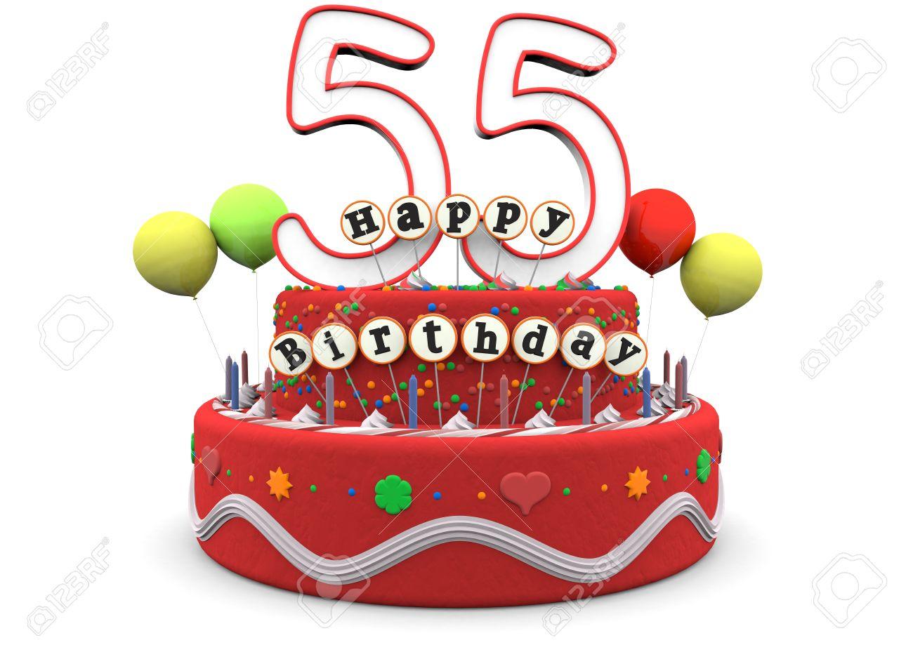 Eine Geburtstags Sahnetorte mit Luftballons, große Altersnummer 55 und der  Schriftzug Alles Gute zum Geburtstag