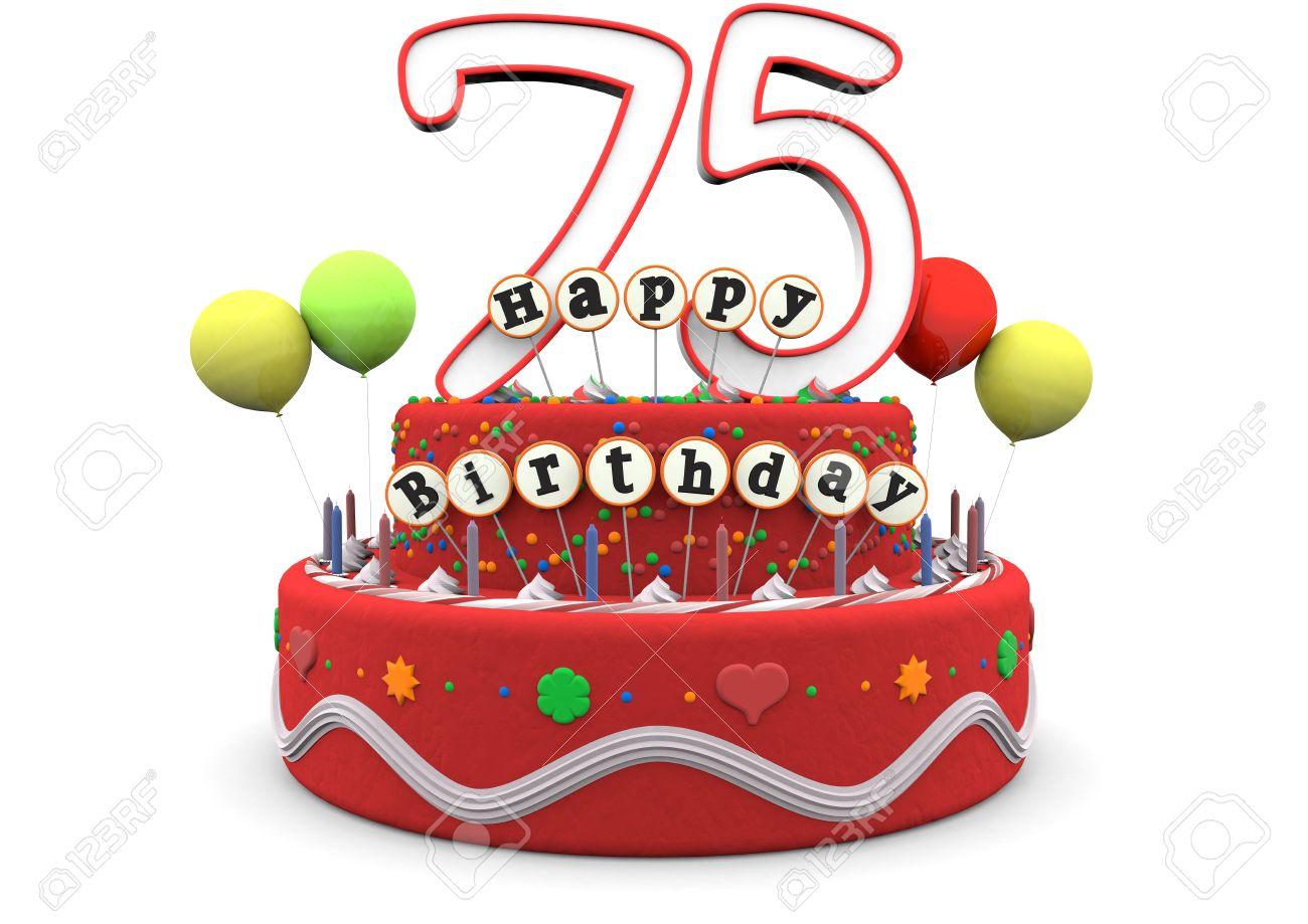Auguri Di Buon 75 Compleanno.Una Crema Torta Di Compleanno Con Palloncini Numero Grande Di Eta 75 E La Scritta Buon Compleanno A Bastoncini
