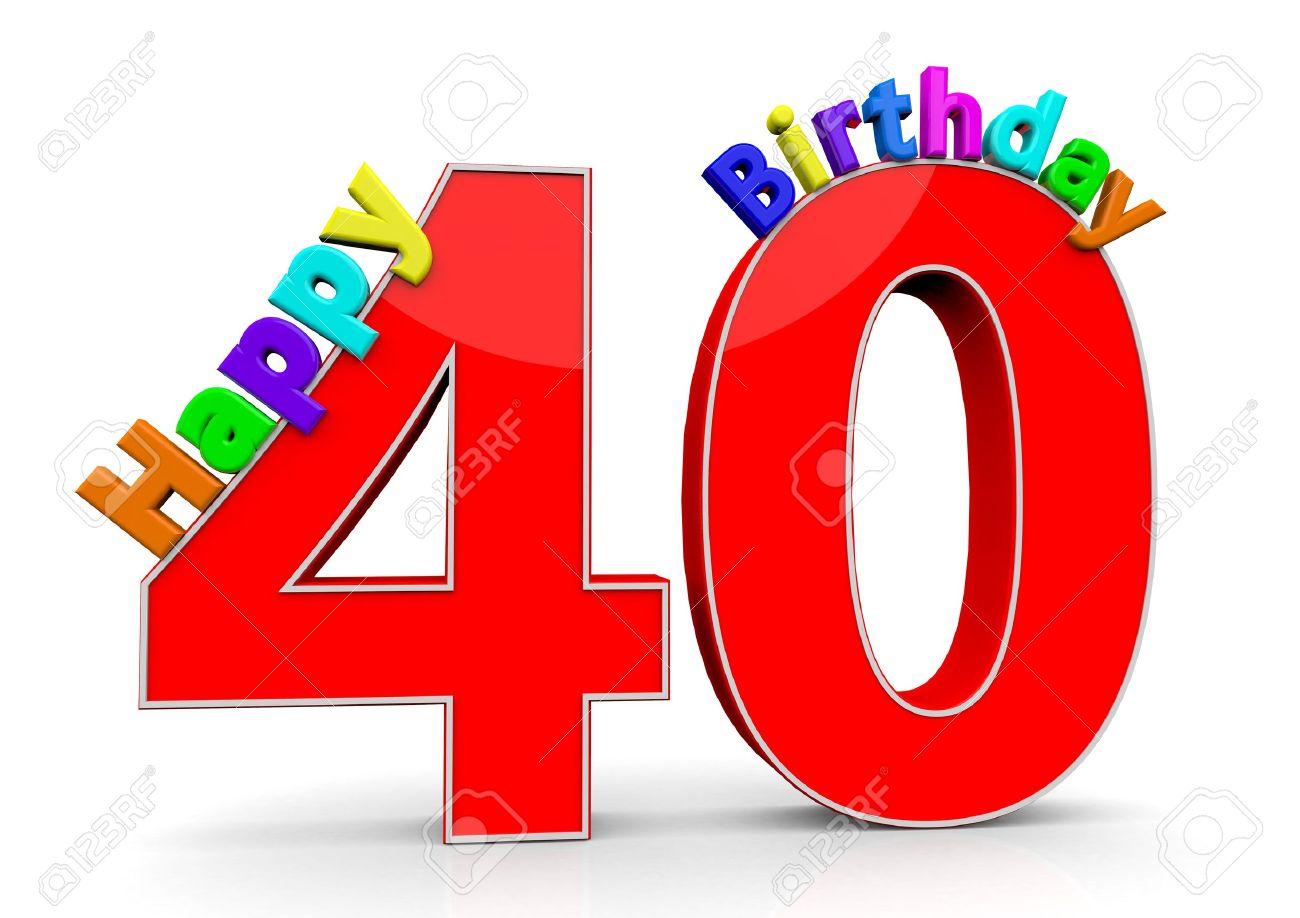 El Gran Número Rojo 40 Con Feliz Cumpleaños En Letras De Colores ...