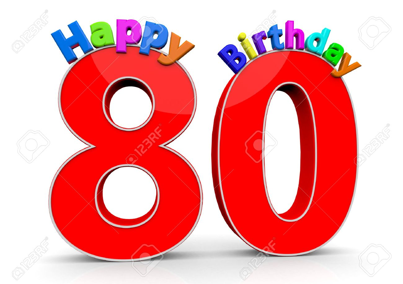 Stock Photo - The big red number 80 with Happy Birthday in colorful letters