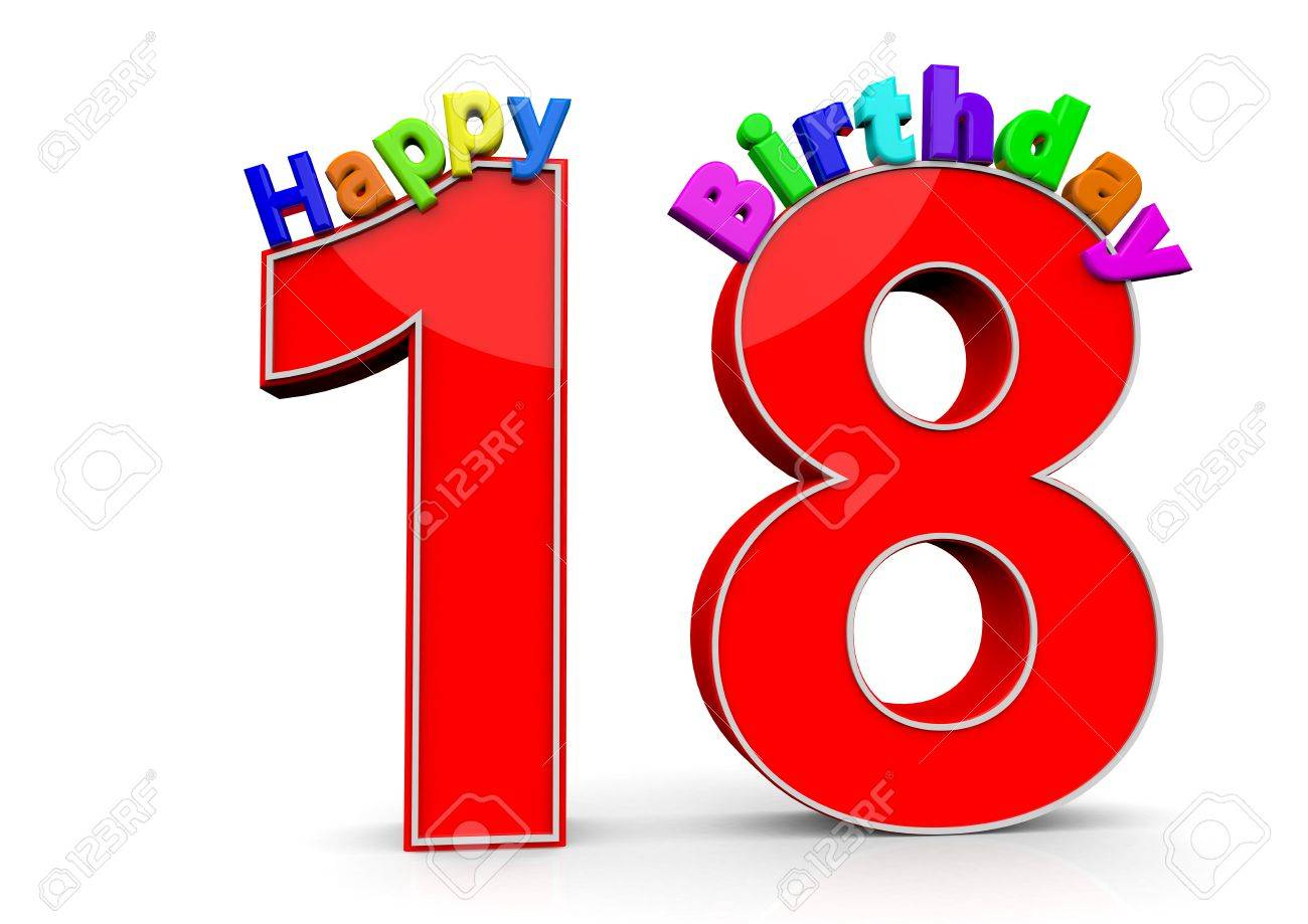 happy birthday numbers 18 18