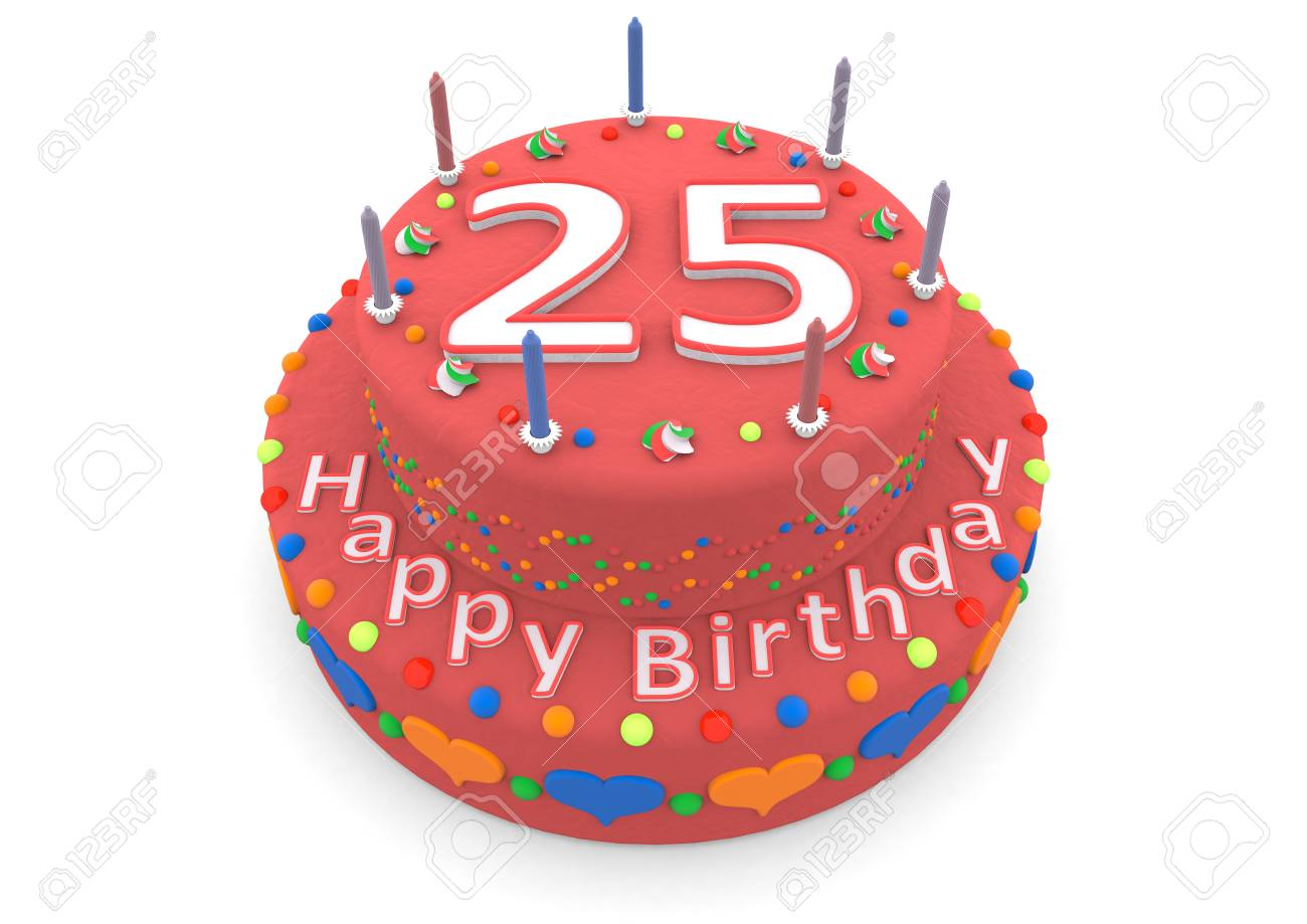 Miraculous A Red Birthday Cake With The Age And Happy Birthday Stock Photo Funny Birthday Cards Online Alyptdamsfinfo