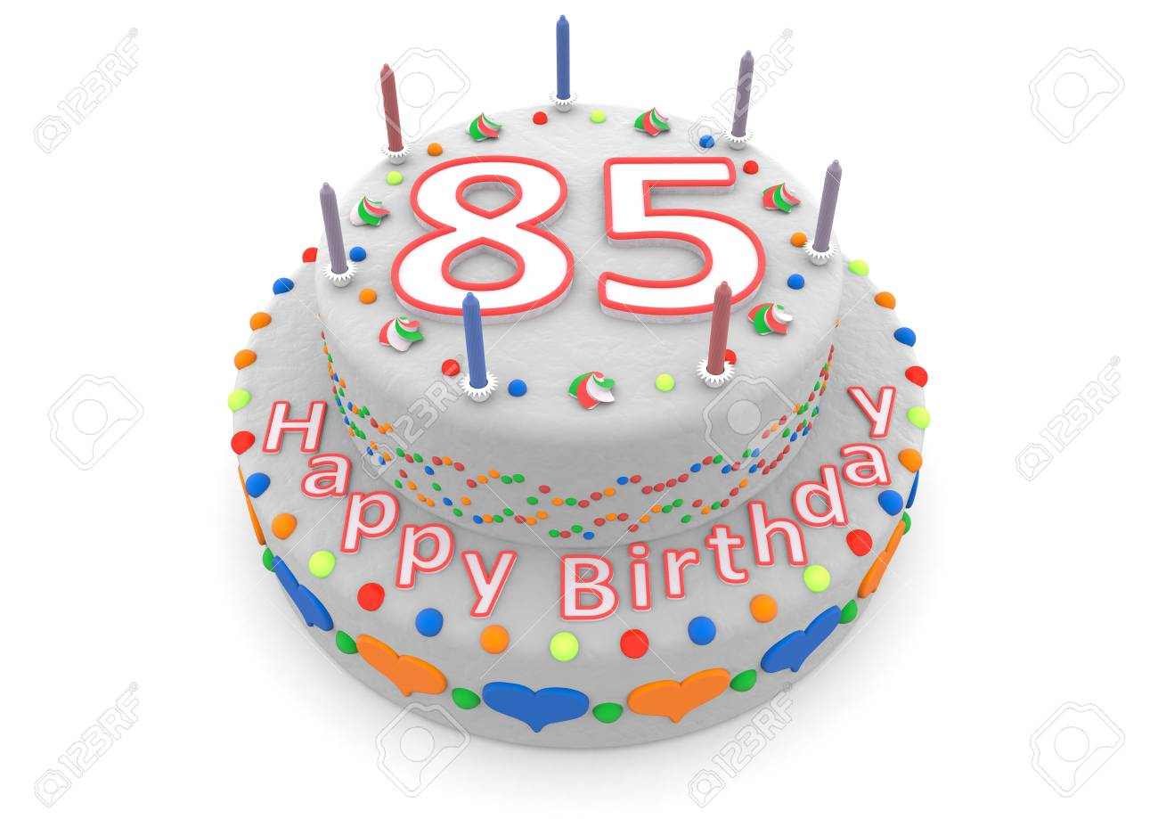 Shown Is A White Cake With The Age And Happy Birthday Stock Photo