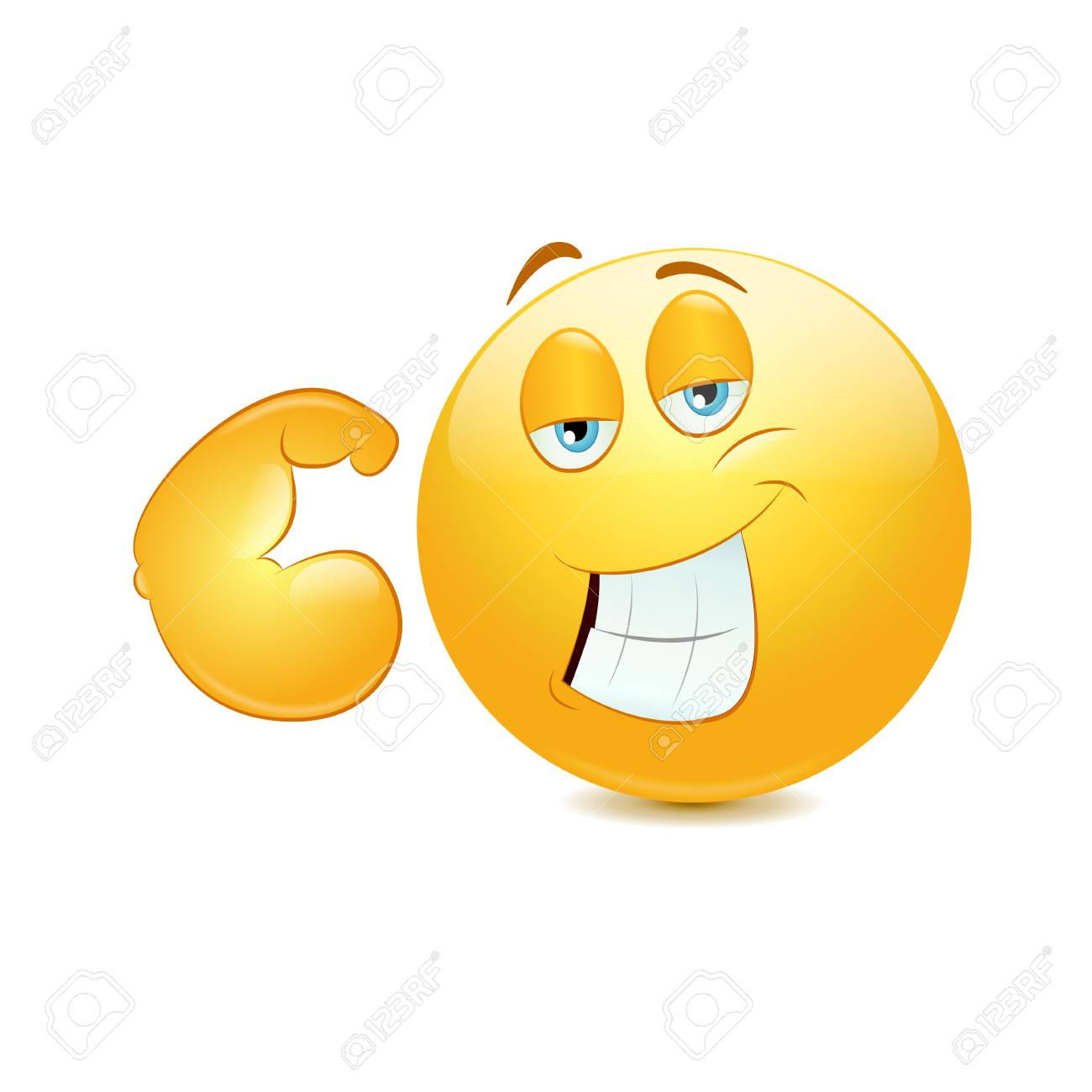 Emoticon Showing His Muscular Arm On A White Background Royalty Free Cliparts Vectors And Stock Illustration Image 91680073