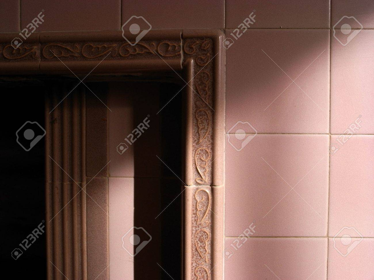 Pink ceramic tiled fireplace design of the 1930s stock photo pink ceramic tiled fireplace design of the 1930s stock photo 4742344 dailygadgetfo Choice Image