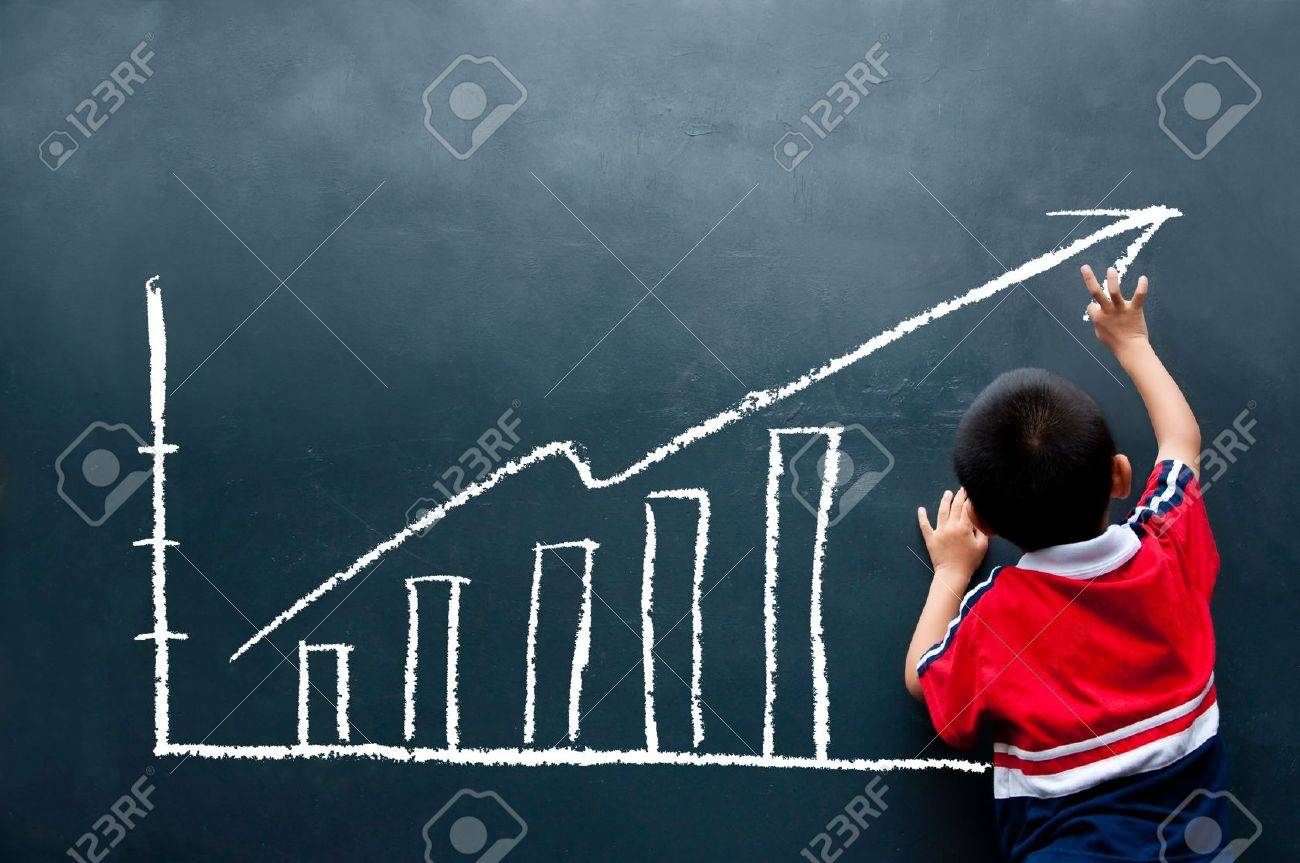 Boy Drawing Sales Report On The Wall Photo Picture And – Sales Report Writing
