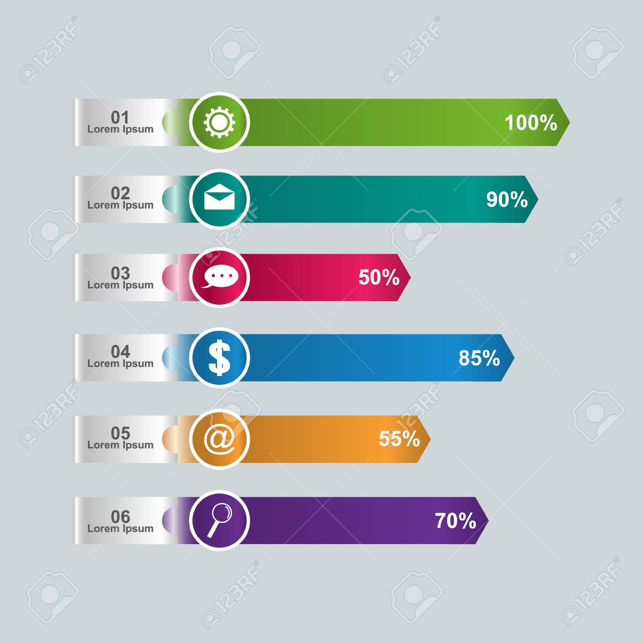 Bar Chart Graph Diagram Statistical Horizontal Infographic Illustration
