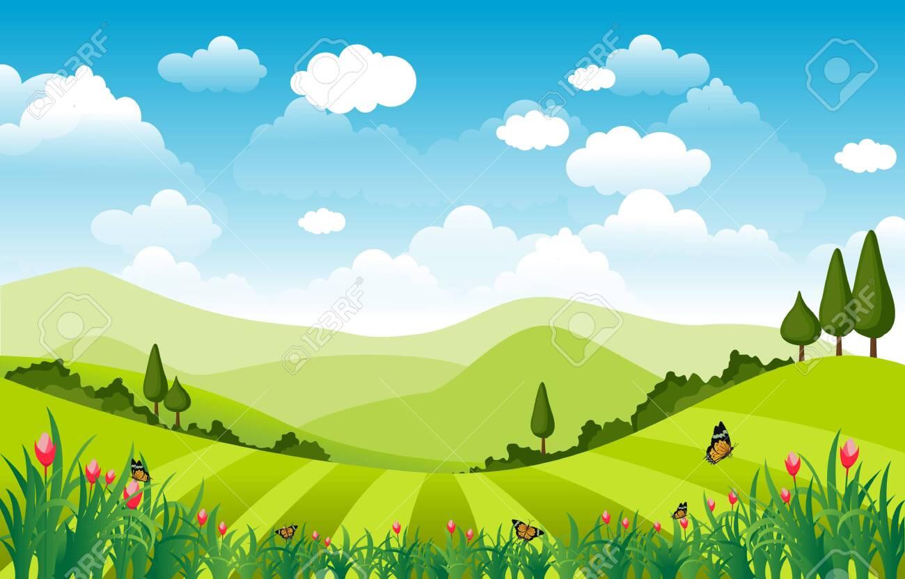 Mountains Hills Green Grass Nature Landscape Sky - 148711863
