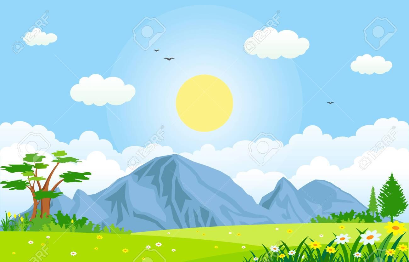 Summer Spring Green Valley Bright Sun Outdoor Landscape Illustration - 148691369