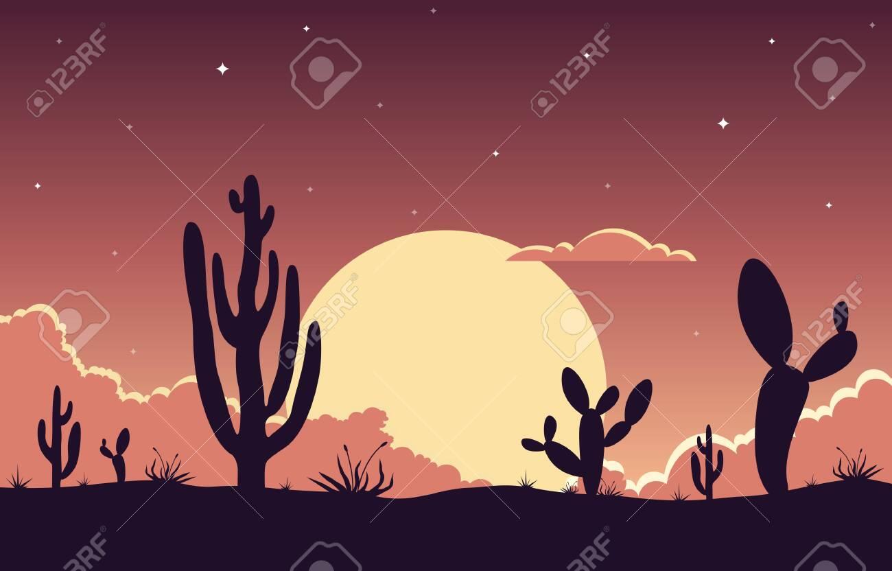 Day in Vast Western American Desert with Cactus Horizon Landscape Illustration - 148853535