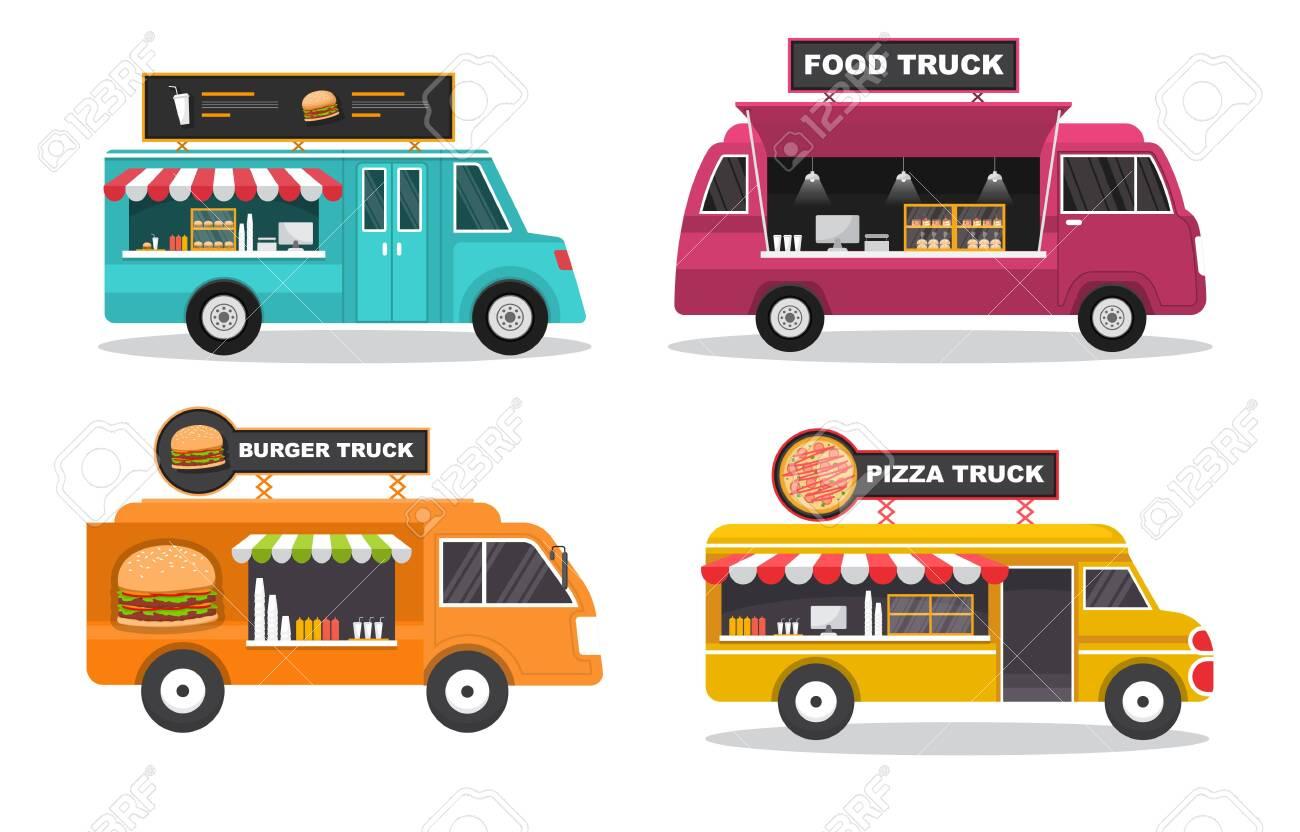 Food Truck Van Car Vehicle Transportation Street Shop Set - 154133995
