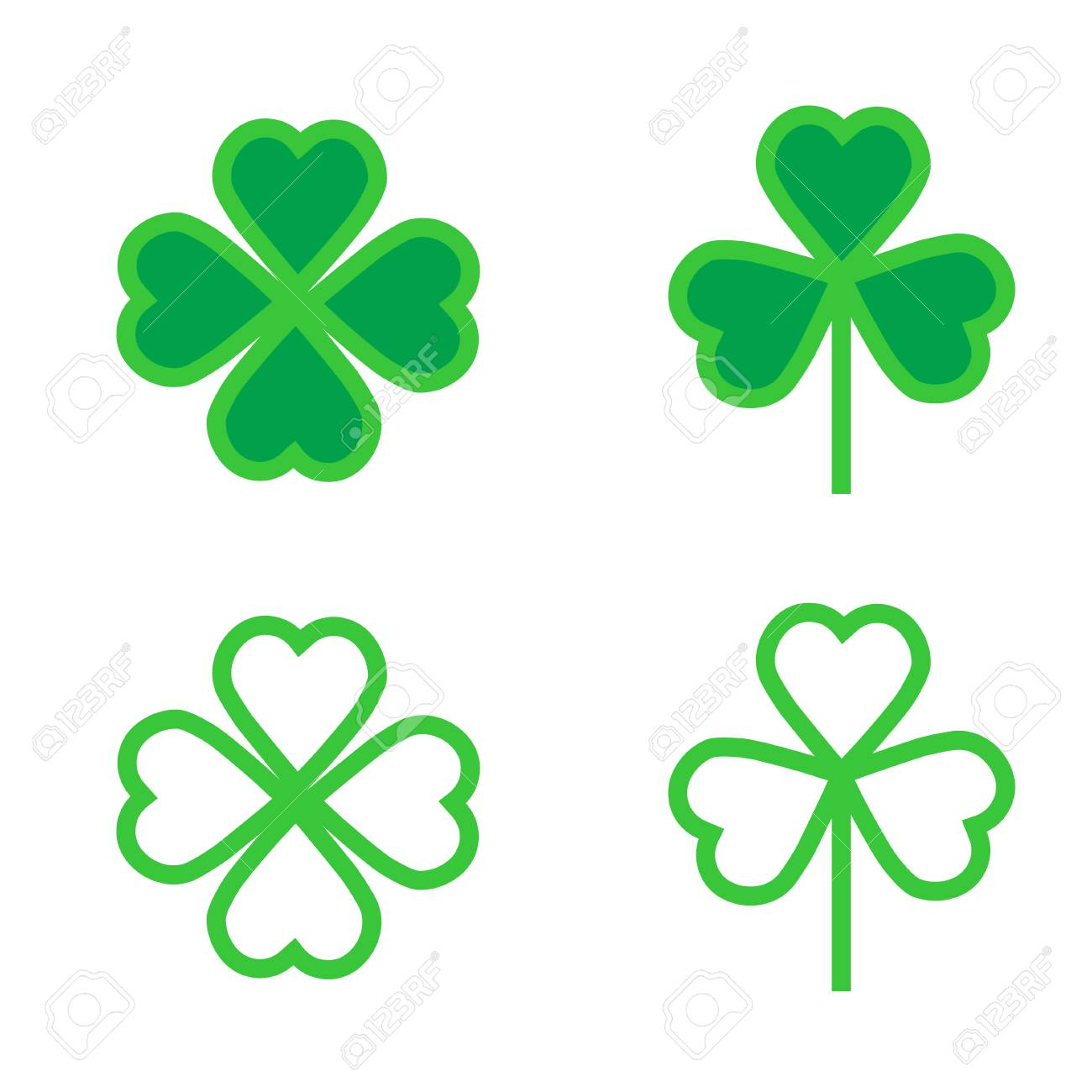 shamrock or clover icon for web and mobile modern minimalistic flat design stock vector