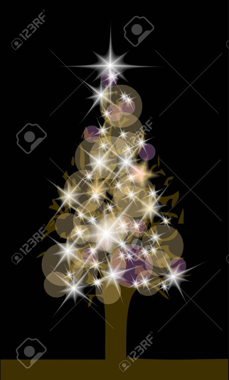 nice christmas tree with the lights on the dark background Stock Vector - 10027437