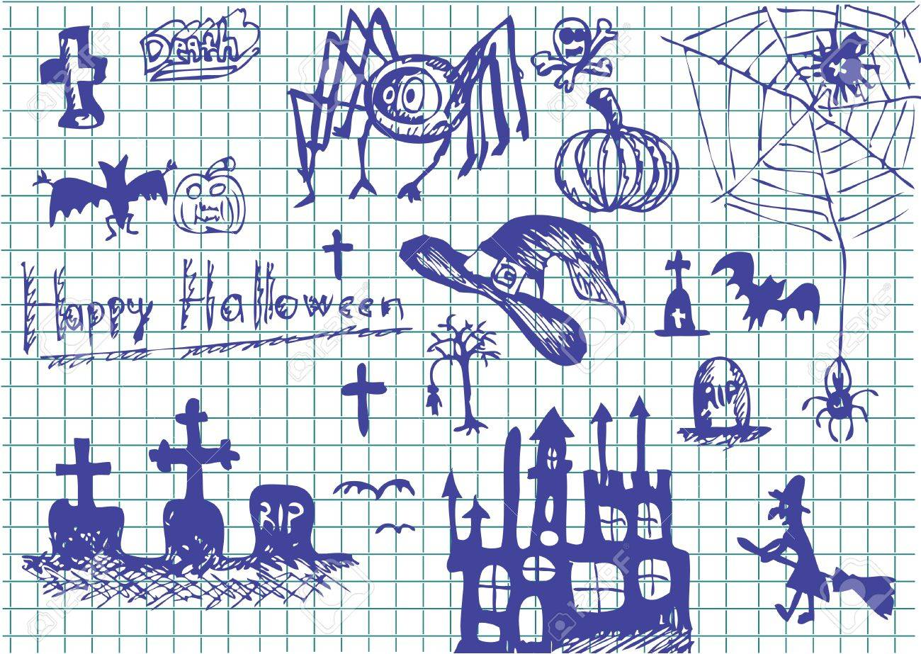 nice hand drawn halloween objects in blue color Stock Vector - 10102568
