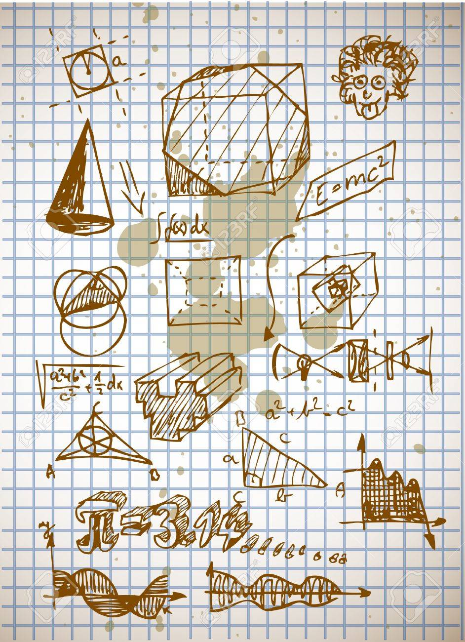 math symbols from high school isolated on the old background Stock Vector - 10276991