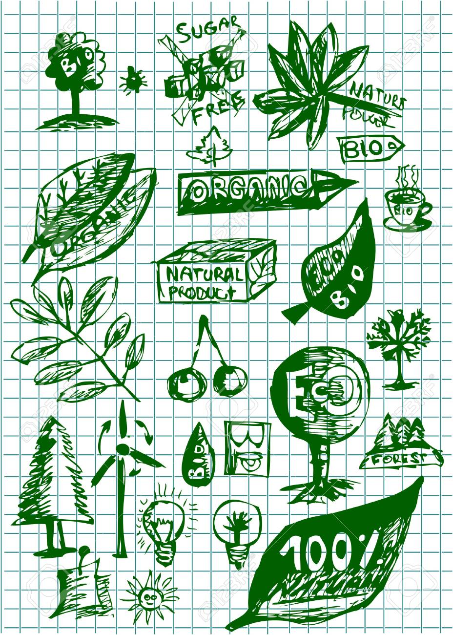 bio and eco icons isolated on the green paper Stock Vector - 10963771