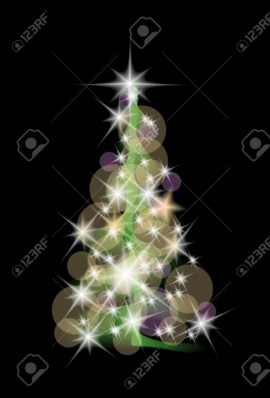 christmas tree isolated on the black background Stock Vector - 10963755
