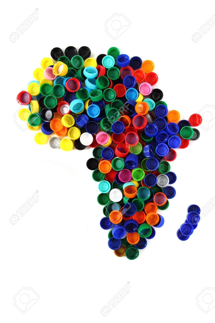 Africa Map From Color Plastic Caps Isolated On The White Background
