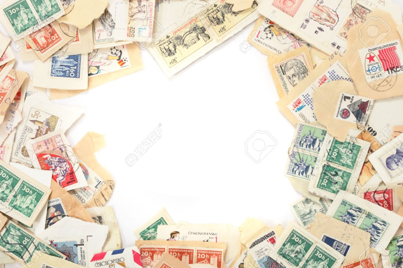 postage stamps background as nice history frame stock photo picture