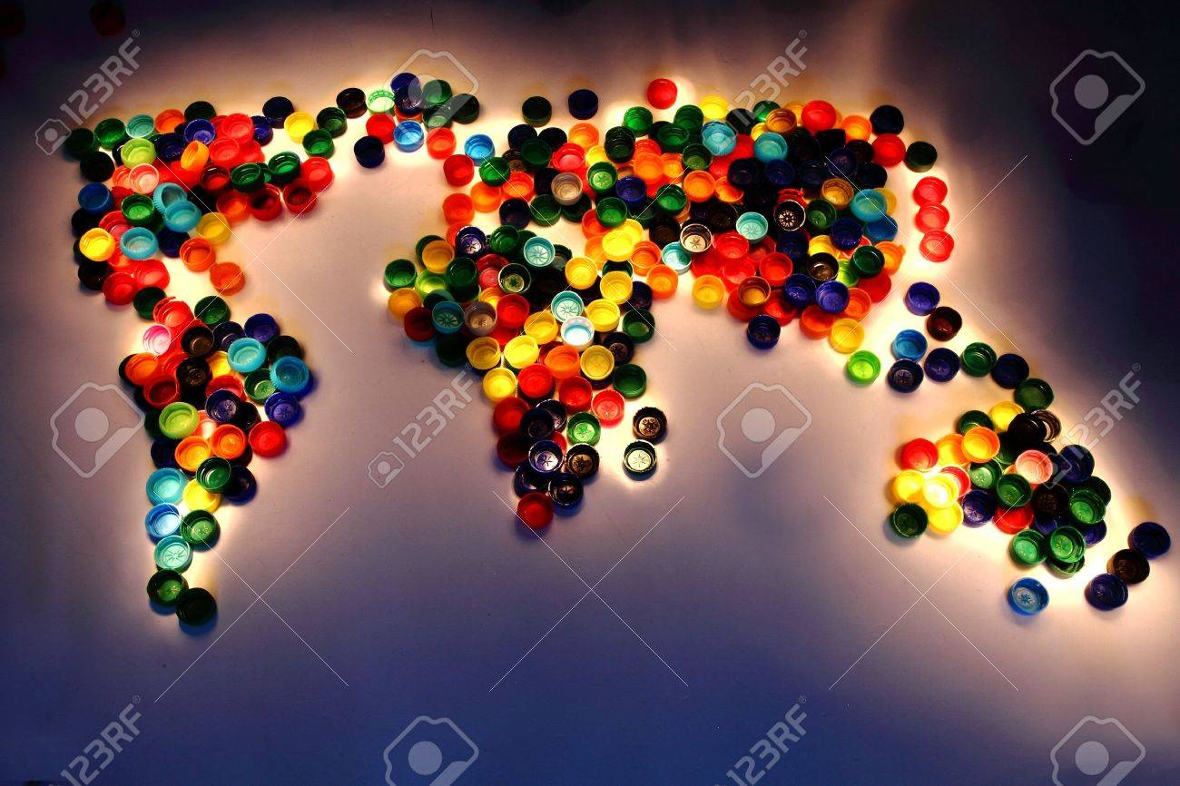 World map from the plastic caps in the dark stock photo picture and stock photo world map from the plastic caps in the dark gumiabroncs Images