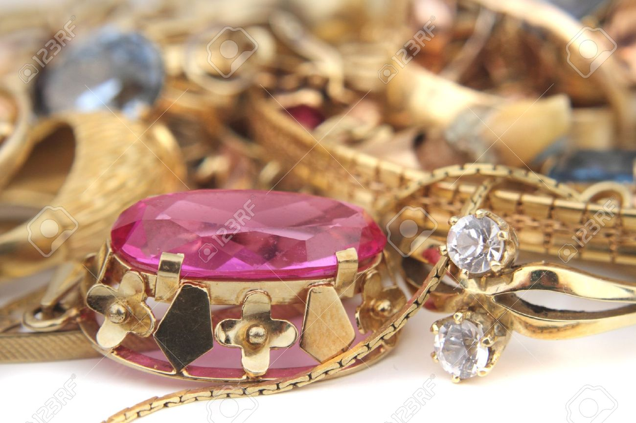 old golden jewelry as nice business background Stock Photo - 18044791