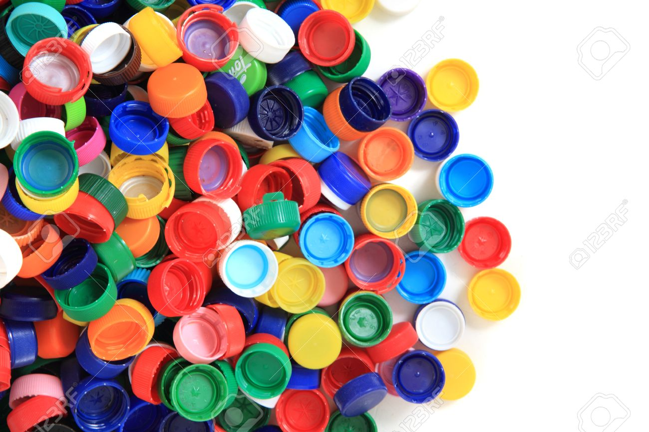 color plastic caps from pet bottles as recycle background