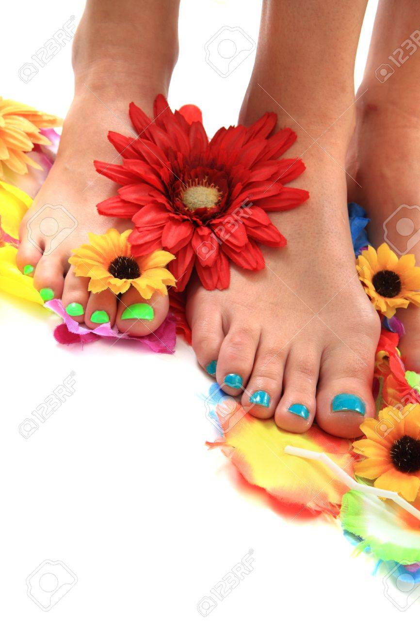 Womens Legs With Nice Nails And Flowers Pedicure Stock Photo ...