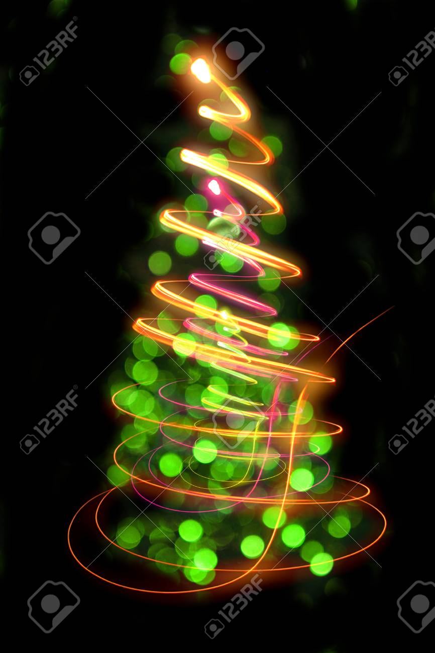 Christmas Tree (color Lights) In The Dark Night Stock Photo, Picture ...