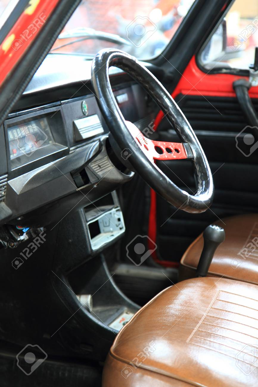 Very Old Car Interior As Nice Background Stock Photo Picture And