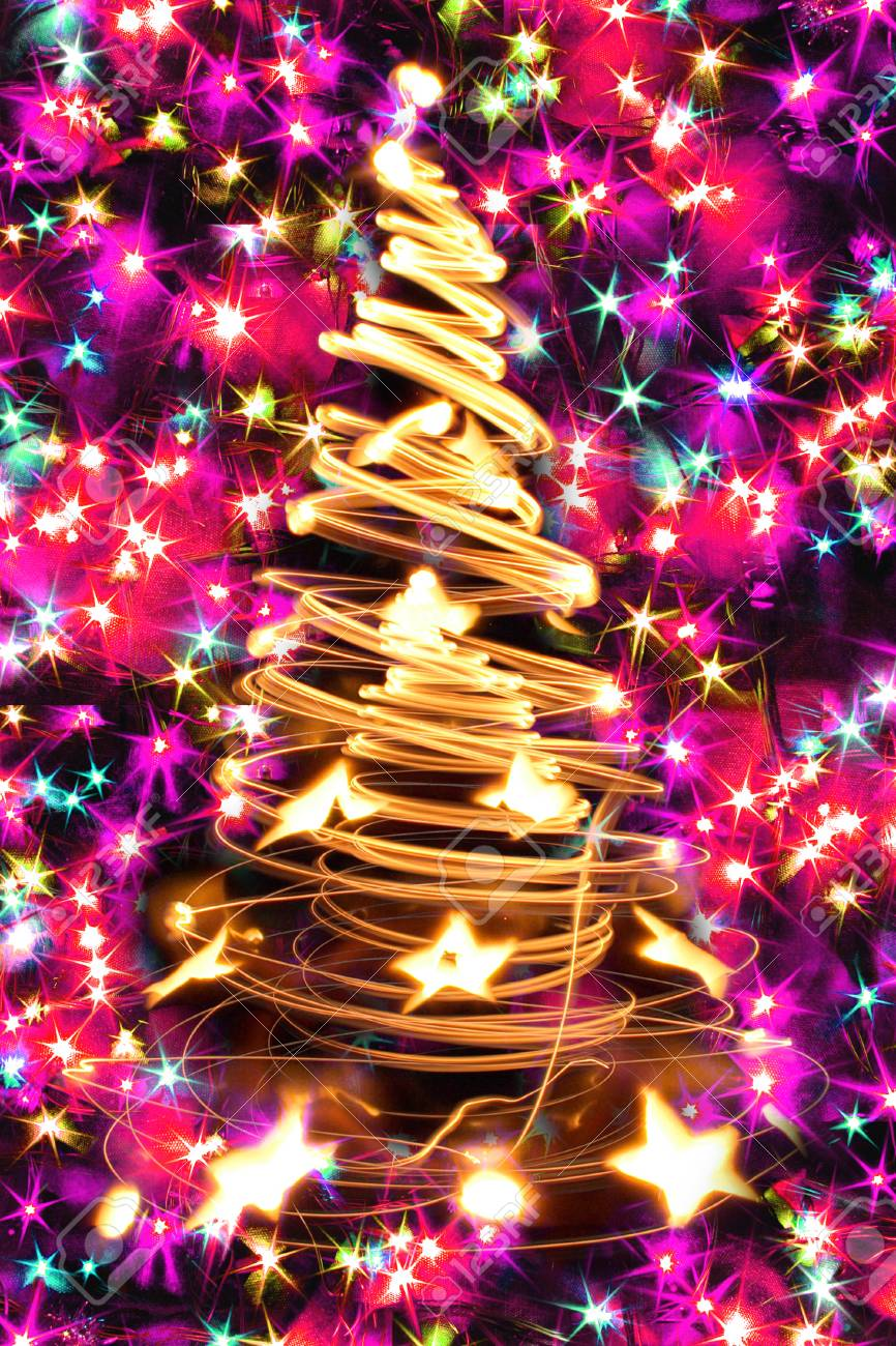 abstract christmas tree from color xmas lights stock photo picture