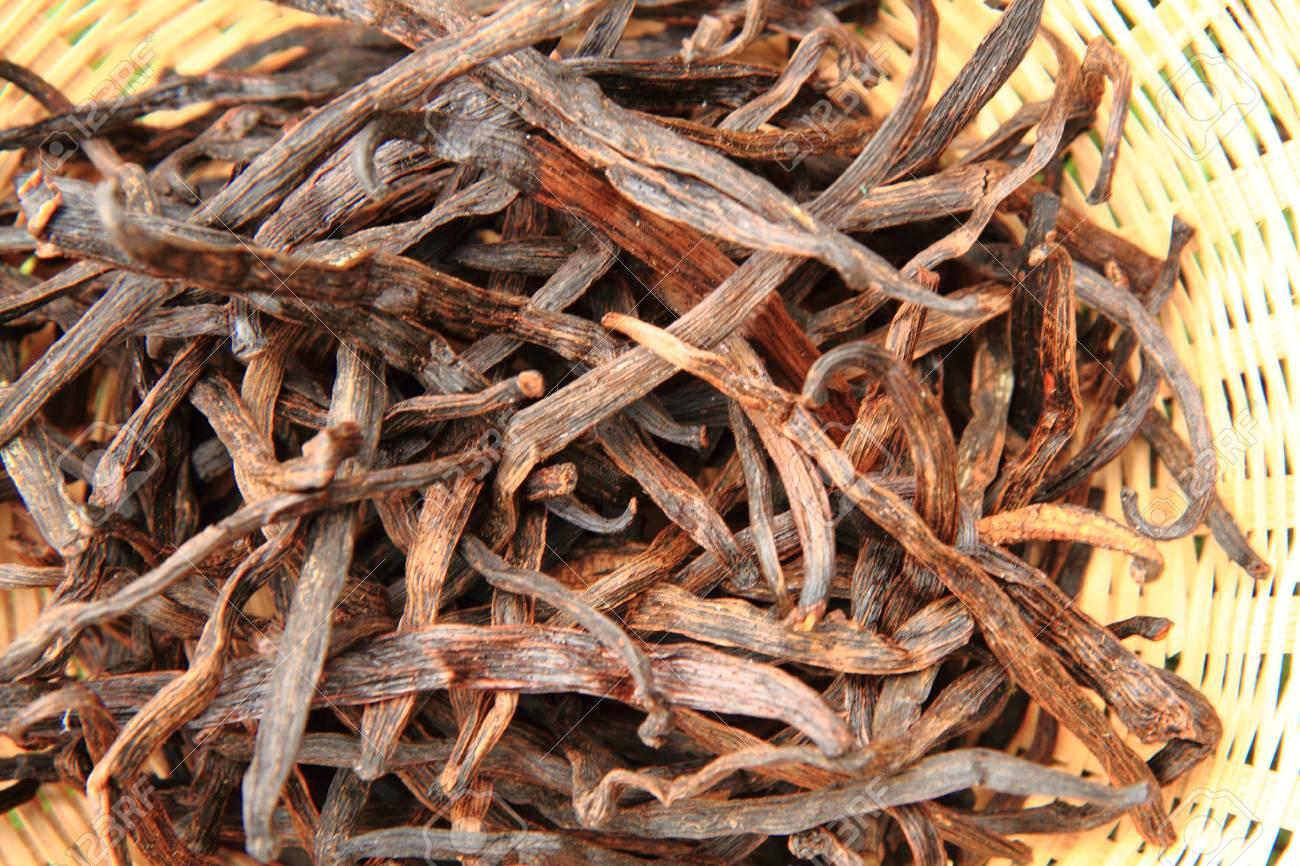 dark vanilla beans as nice spice background - 88087929