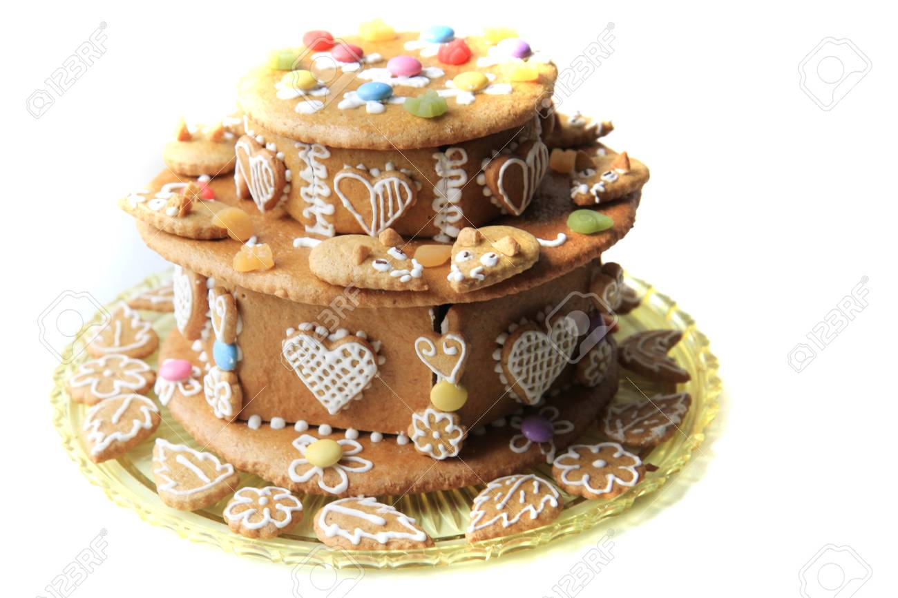 Gourmet Birthday Gingerbread Cake With Small Mouses Stock Photo