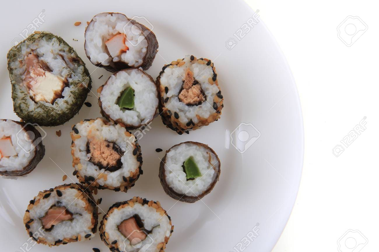Sushi Traditional Japan Food Isolated On The White Background