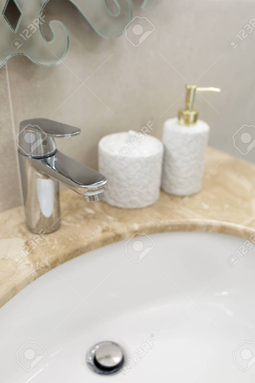 Marble Sink Chrome Faucet And Bathroom Accessories Modern Bathroom Stock Photo Picture And Royalty Free Image Image 140611235