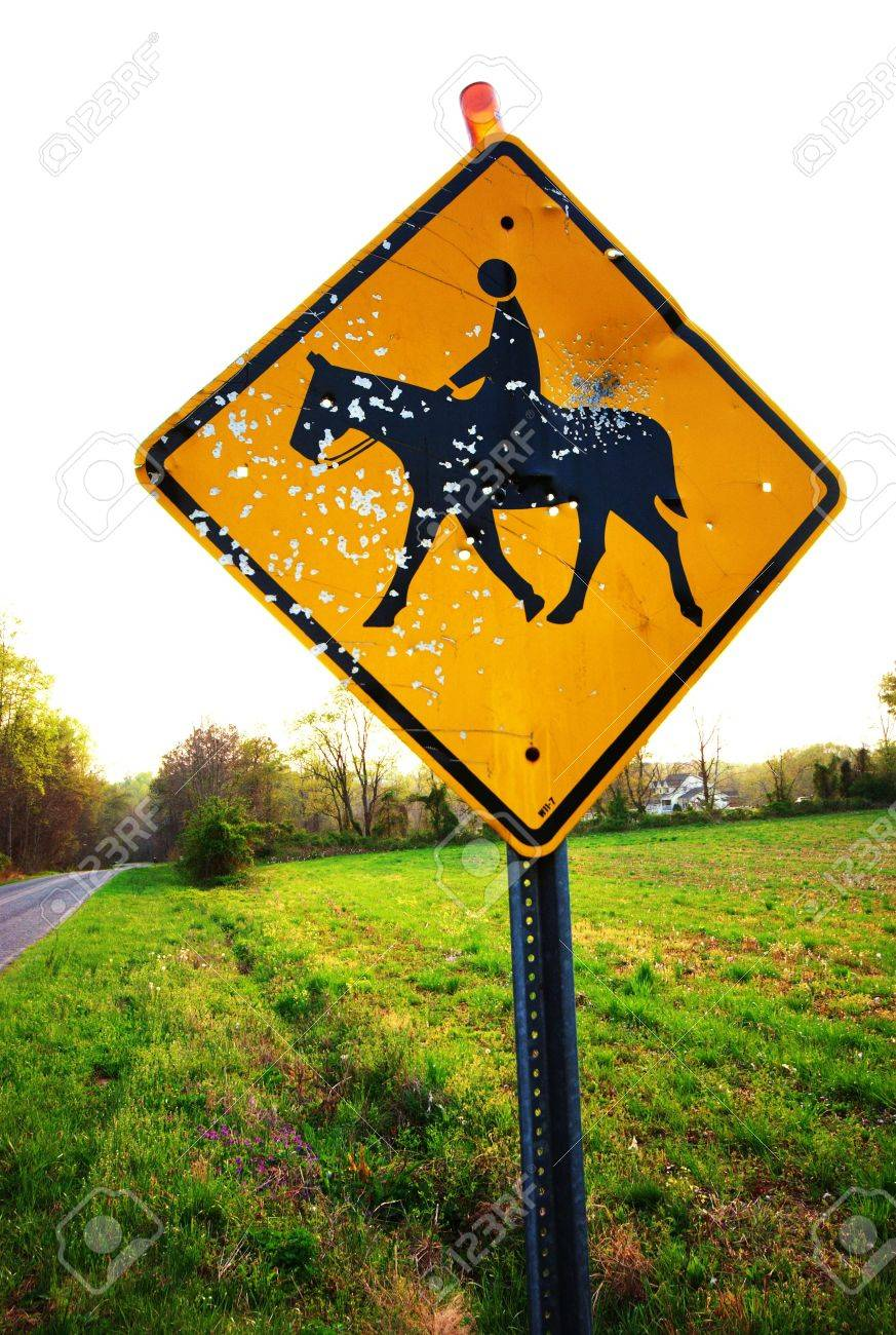 Horse Crossing Sign a Road Sign For Horse Crossing